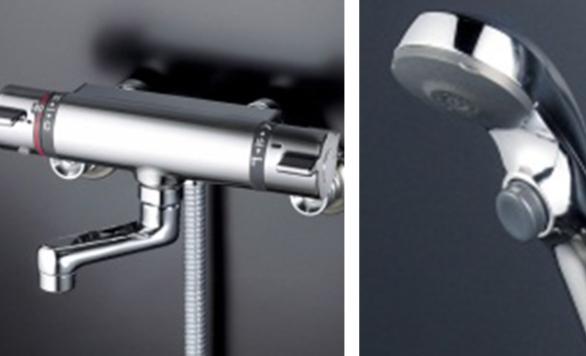 押しやすいボタンで手元操作ができるシャワー
